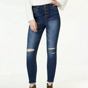 Tinseltown Ripped Button Fly Fray Hem Skinny Jeans